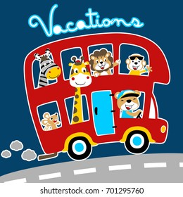 animals on the bus, vacations time, vector cartoon illustration