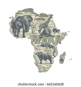 Animals on the continent map of Africa, illustration, vector