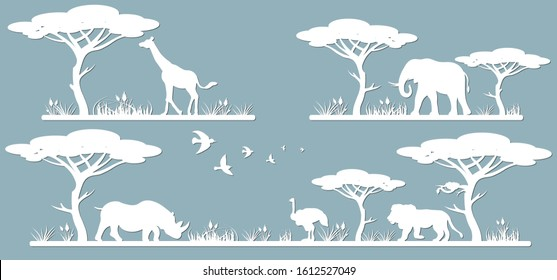 Animals on the line. Laser cut paper, template for DIY scrapbooking. Rhinoceros, giraffe, ostrich, elephant, lion. Animals, wildlife, bird, tree, grass, sunset in Africa. From paper for plotter.