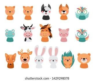 Animals on a white background. Cartoon cute  illustration. Hedgehog, rabbit, bear, bunny, frog, owl, deer,  fox, cat, dog, cow, pig, frog, hare, horse.  - Vector