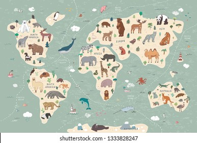 Animals on world map illustrations  hand drawn vector set