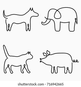 Animals one line drawing. Continuous line print - cat, dog, pig, elephant. Hand-drawn illustration for logo, emblem and design card, poster. Vector set.