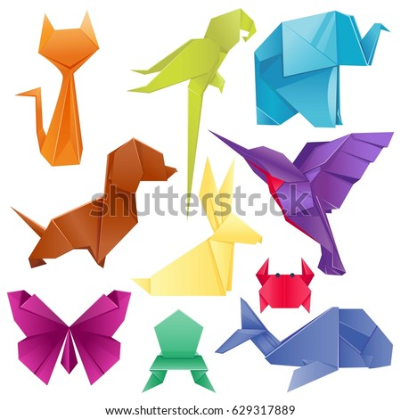 Animals Origami Set Japanese Folded Modern Stock Vector Royalty