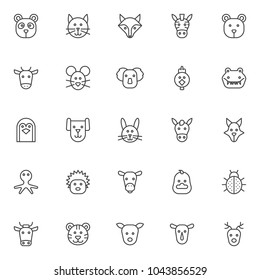 Animals outline icons set. linear style symbols collection, line signs pack. vector graphics. Set includes icons as panda head, cat, fox, zebra, bear, cow, mouse, koala, hen, bird, crocodile, penguin