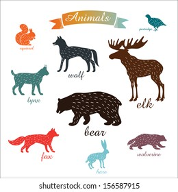 Animals. Outlines of animals with fur.