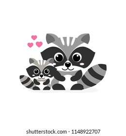Animals Parent with Baby. Funny raccoon with baby.