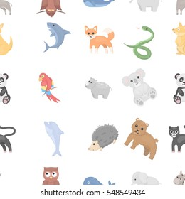 Animals pattern icons in cartoon style. Big collection animals vector symbol stock illustration