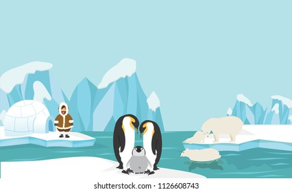 Animals and people of North pole Arctic landscape background