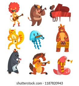 Animals playing musical instruments set, lion, cow, sheep, jellyfish, cat, mole, horse, earthworm, bear, musician animals cartoon characters vector Illustration