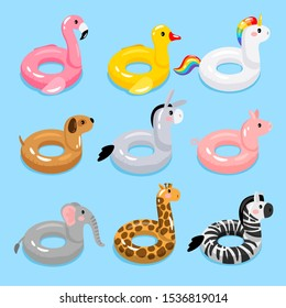 Animals pool float rings. Kids swimming rings with animal heads. Baby water floating duck and flamingo, unicorn and giraffe lifebuoys, children cartoon sea party toys, vector illustration