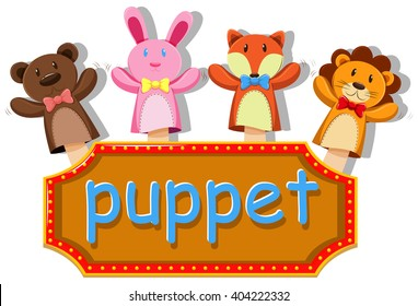 Animals puppets with sign illustration