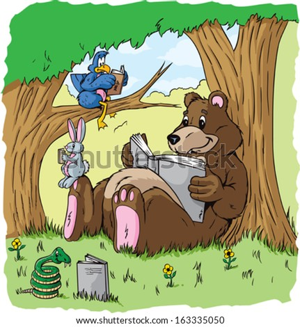 animals reading stock vector royalty free 163335050 shutterstock