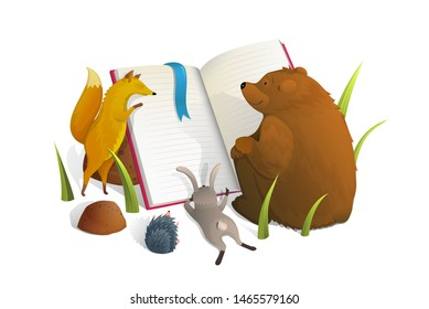Animals reading book watercolor style vector illustration Fox, rabbit and bear studying metaphor isolated clipart on white background. Mammals cartoon characters learning lesson children book design.