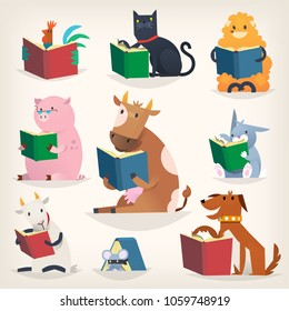 Animals reading books with stories and translating other languages. Trying to understand others. Vector images for library posters and other designs.