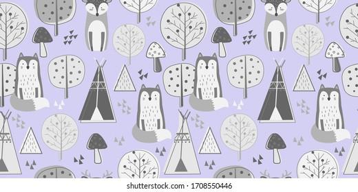 Les animaux répètent le motif. Arrière-plan art-crèche. Conception de motif de tissu pour enfants.
