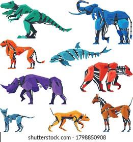Animals Robots Set, Dinosaur, Elephant, Dolphin, Bear, Horse, Dog, Lion Artificial Intelligence Robotic Creatures Vector Illustration