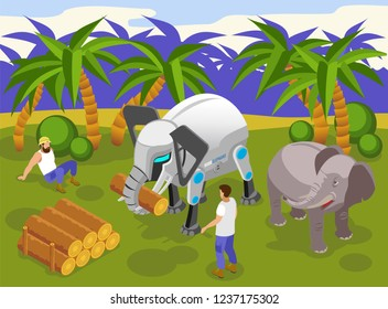 Animals robots at work isometric composition with automated giant elephant carrying heavy logs tropical background vector illustration