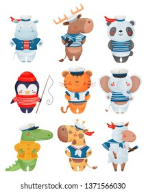 Animals sailors characters in cartoon style. Set of cute funny little sailors vector illustration.