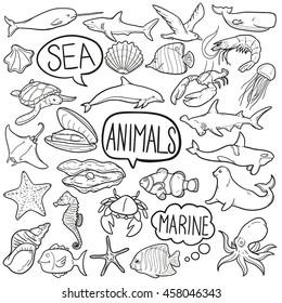 Animals Sea Marine Doodle Icon Hand Made