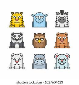 Animals set, flat design. tiger, rhinoceros, zebra, panda, owl, bear, white Bear, hippopotamus, mouse.