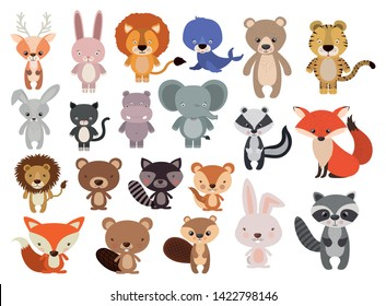 Animals Set in flat style, vector illustration