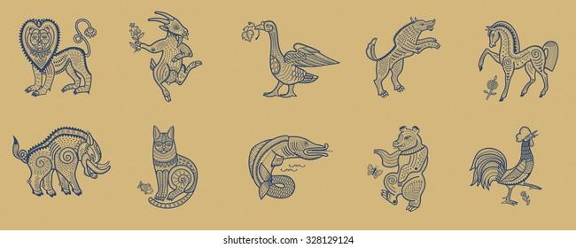animals set folk style