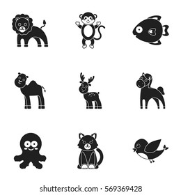 adb69f432 Animals set icons in black style. Big collection of animals vector symbol  stock illustration