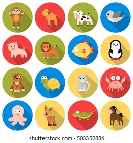 Animals set icons in flat style. Big collection animals vector symbol stock illustration