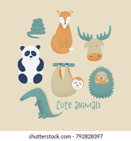 Animals set with panda, fox, sloth and hedgehog