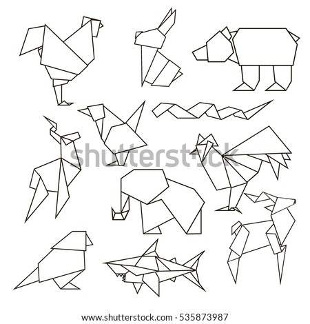 Animals Set Rooster Rabbit Bear Bird Stock Vector Royalty Free