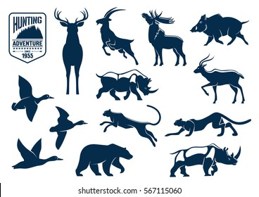 Animals silhouette icons. Deer, mountain goat, reindeer with antler, wild boar, rhino or rhinoceros, panther and grizzly bear, duck bird. Hunting for mammals at safari and savanna, forest theme.