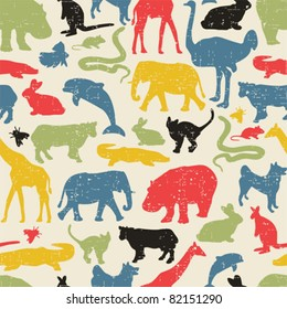 Animals silhouette seamless pattern. Vector texture in retro style.