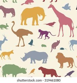 Animals silhouette seamless pattern. Wildlife tiled textured background. African animals seamless pattern