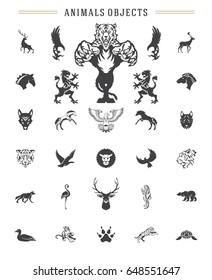 Animals silhouettes objects vector design elements set vintage style isolated on white. For logos badges and other graphic design.