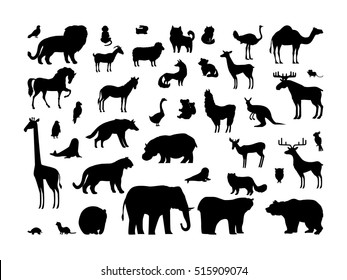 Animals silhouettes set. Deer, bear, wolf, tiger, fox, panda, raccoon, rabbit, owl, mouse, eagle, weasel, roe deer, chipmunk, elephant, giraffe isolated on white background. Wildlife collection