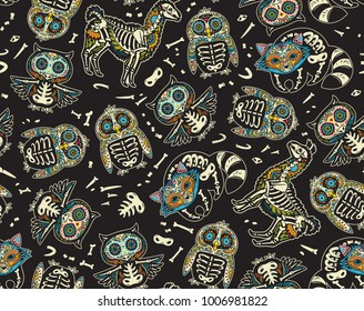 Animals skull seamless pattern. Day of death. Mexican holiday surface black background