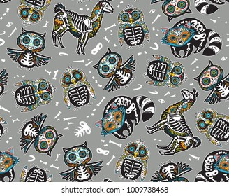 Animals skull seamless pattern. Day of death. Mexican holiday surface gray background