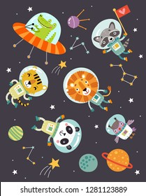 Animals in space a cute vector illustration
