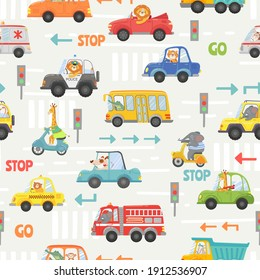Animals in transport seamless pattern. Kid cartoon cars, bus, police and bike with animal driver. Vector texture with road traffic and signs. Lion, elephant, giraffe and dog on vehicle