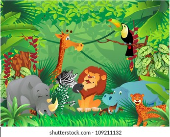 animals in tropical jungle