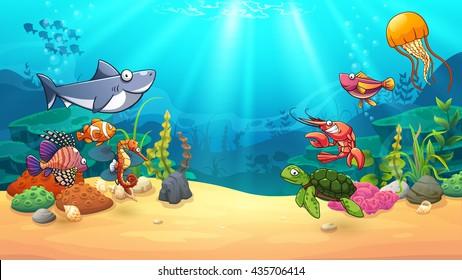 Animals in underwater world, vector art and illustration.