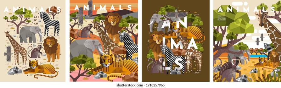 Animals. Vector flat illustrations of giraffe, elephant, monkey, tiger, lion, zebra, eagle, tree, savanna. African flora and fauna drawings for poster or background - Shutterstock ID 1918257965