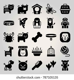 Animals vector icon set. bee, bird house, bull and cat