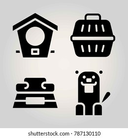 Animals vector icon set. full bowl, beaver, animal carrier and bird house