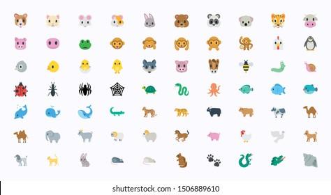 Animals Vector Illustration Emojis, Icons Set. All Flat Wildlife Symbols Collection