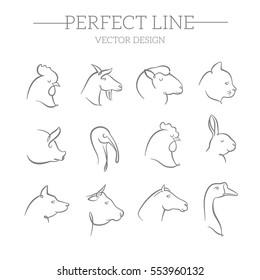 animals vector line icons set
