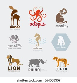 Animals vector logos, emblems and labels set in flat style