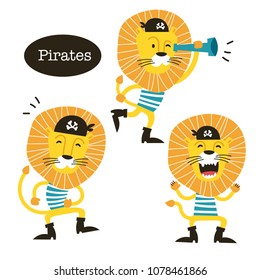 Animals vector set. Cartoon Lion sailor pirate.Perfect for wallpaper,print,packaging,invitations,Baby shower,birthday party,patterns,travel,logos etc