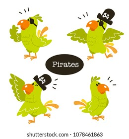 Animals vector set. Cartoon Parrot pirate.Perfect for wallpaper,print,packaging,invitations,Baby shower,birthday party,patterns,travel,logos etc