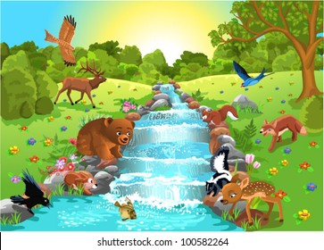 animals at the water